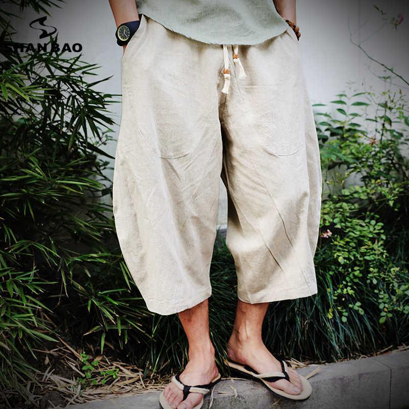 2019 летние новые китайский стиль льняные свободные тонкие шаровары мужские эластичные поясные модные стильные штаны большого размера