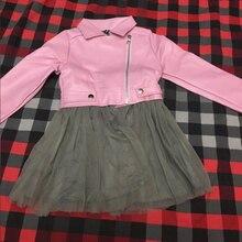 girls jackets children PU jacket, 1-7 year old fashion short diagonal zipper faux leather jacket Mesh stitching dress separable