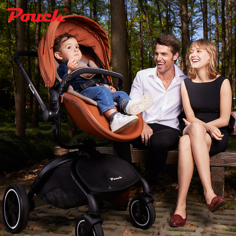 Pouch Clothe/leather 2-in-1 Travel System, High Landscape,Folding Baby Stroller with storage bags Pram F89/F90 for baby infant