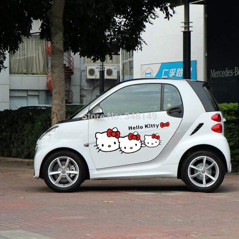 Smart car sticker designs - Car Styling Funny Hello Kitty Cartoon Car Accwssories Car Stickers And Decal For Mercedes Smart