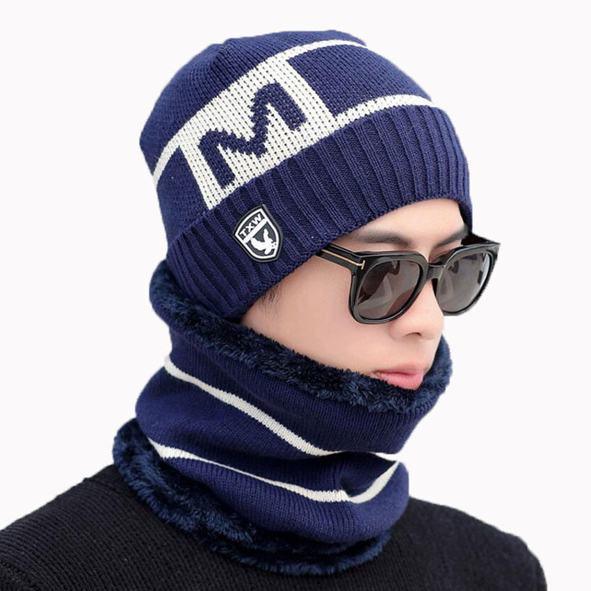 Warm Winter Men Hat Scarf For Wool Women Caps And Scarves Stripe Letter Knitted Beanies Cap 2 Pcs Set Male Skullies Mask Bonnet