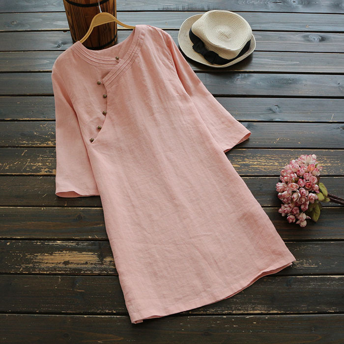 4090 New Big Size Spring Women Japan Style Dress Solid Linen Three Quarter Sleeve Short Dress Women