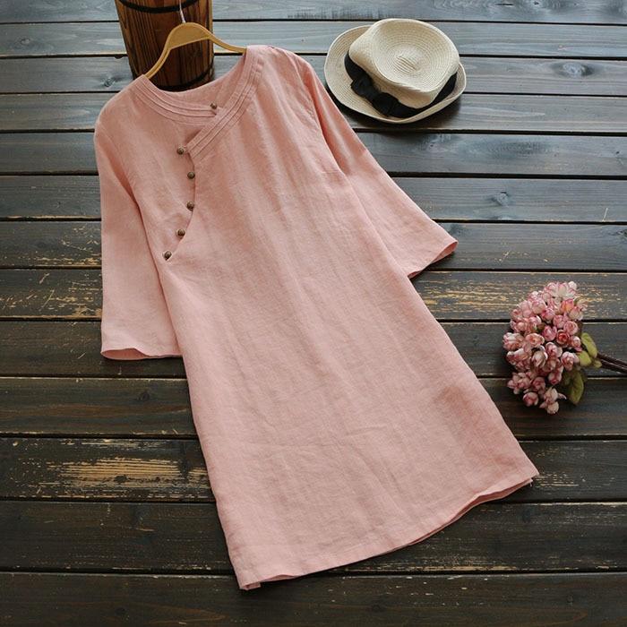 4090 New Big Size Spring Women Japan Style Dress Solid Linen Three Quarter Sleeve Short Dress Women