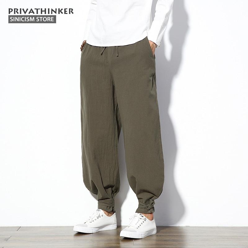Sinicism Store 5XL Cotton Linen Harem Pants Men Jogger Pants Male Trousers Chinese Traditional Cloths Belts Plus Size(China)