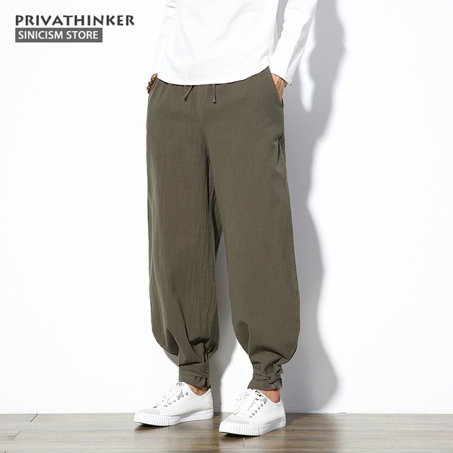 1668655bc7 Sinicism Store 5XL Cotton Linen Harem Pants Men Jogger Pants Male Trousers  Chinese Traditional Cloths Belts Plus Size