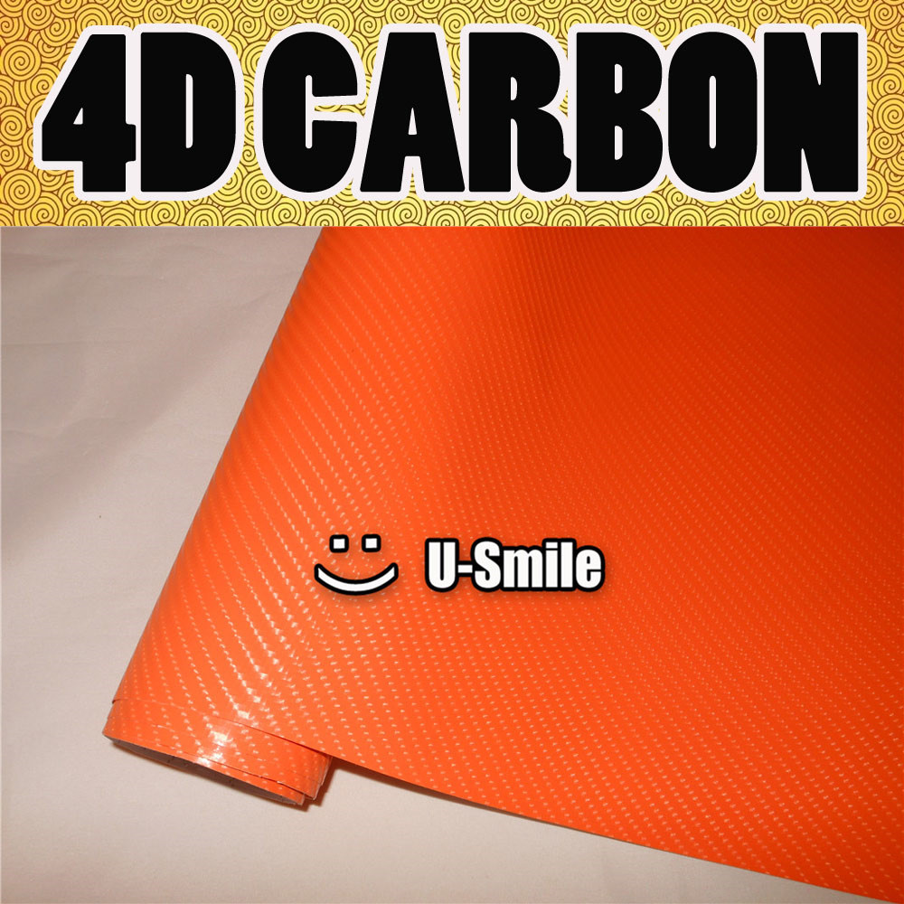 4D Gloss Orange Carbon Fiber Sticker Decal Orange 4D Carbon Vinyl Wrap Bubble Free For Vehicle Wraps Size:1.52X30M/Roll best top selling new stylish decal carbon fiber skin sticker for xbox one console