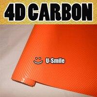 4D Gloss Orange Carbon Fiber Sticker Decal Orange 4D Carbon Vinyl Wrap Bubble Free For Vehicle Wraps Size:1.52X30M/Roll