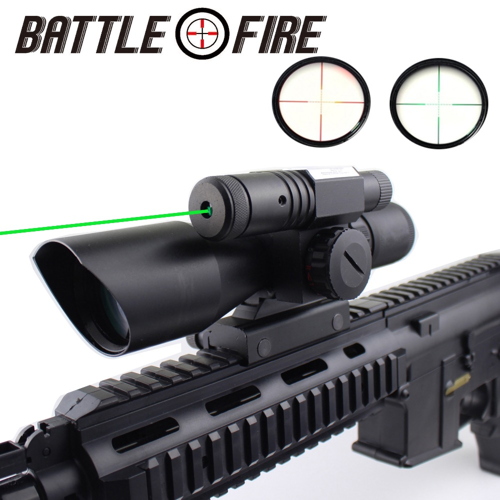 2.5 - 10 X 40 Tactical Rifle Scope With Green Laser Collimator Sight For Gun Hunting  Riflescope