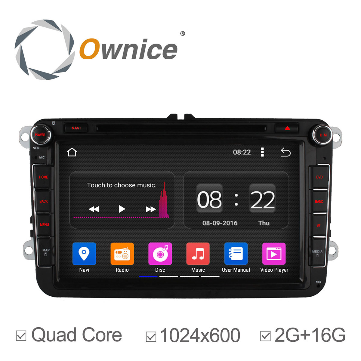 1024*600 Quad Core Android 5.1 Car DVD FOR Volkswagen Golf Tiguan Polo Passat Jetta Car GPS Navigation Radio 2G RAM + 16GB ROM