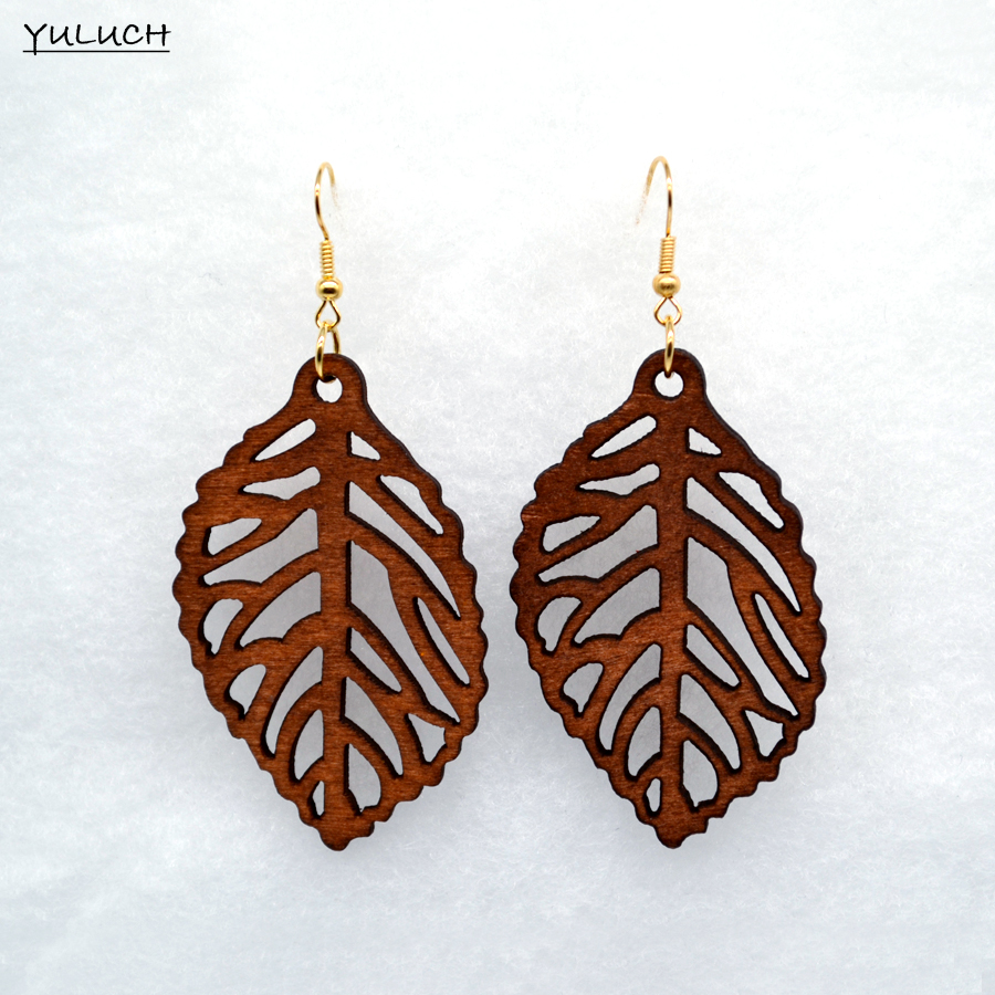 good quality african wood Leaf earrings jewelry pair 2016 new design personality hollow latest