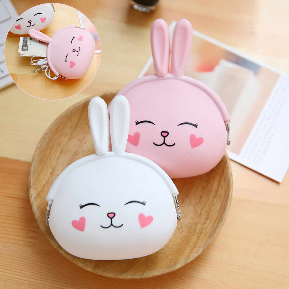 small wallet for coins kids cute rabbit silicone small wallet for girls boys coins credit cards  money storage bag #TX4