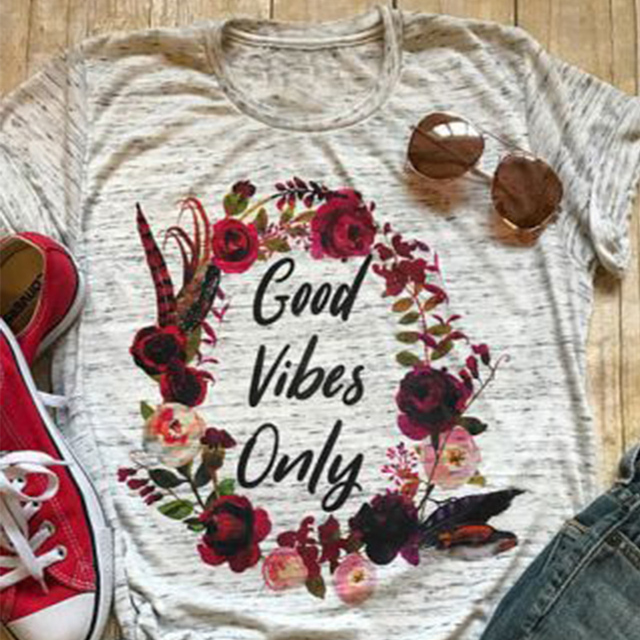 1fdba3c21 Good Vibes Only T-Shirt Letter Shirts Clothing Women'S Graphic Tees Tumblr  Popular Shirts Summer