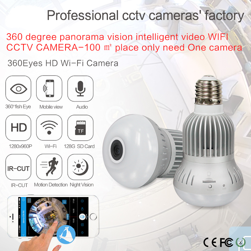 HD 960P Wireless Wifi IP Camera 1.44MM Lens 360 Degree Panoramic Fisheye 1.3MP Security Camera Support Phone APP Control