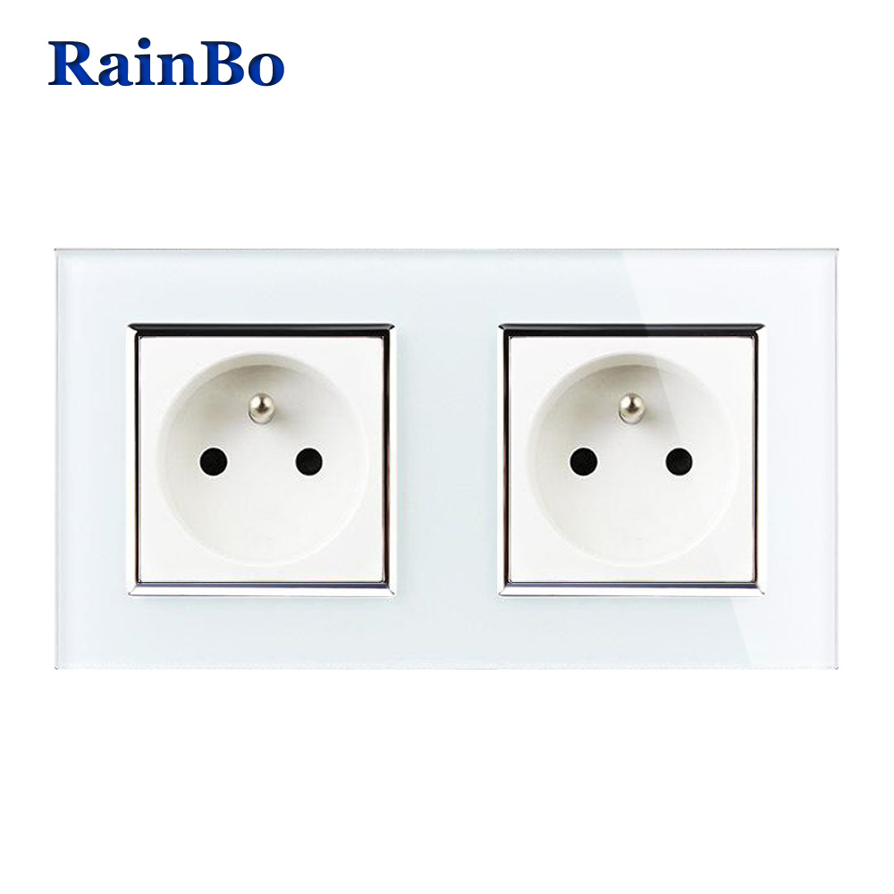 RainBo Wall France Power Socket Glass Panel AC250V Wall Power Smart Outlet Wall Socket Free Shipping Manufacture A28F8FW/B rainbo brand free shipping wall power socket new outlet france standard crystal glass panel ac110 250v 16a wall socket a18fw b