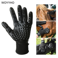 One Pair Black Pet Grooming Cloves For Dog Cat Horse Deshedding Brush Massage Tool Cleaning Mittens