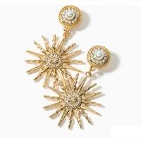 2018 fashion show new pearl earrings popular Golden Sunflower man made Pearl Rhinestone Earring earrings