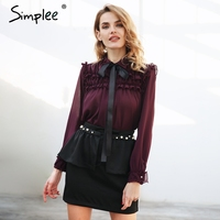 Simplee Sexy Ruffle Wine Red Chiffon Blouse Women Transparent Bow Ribbon Pearls Button Blouse Shirt 2018