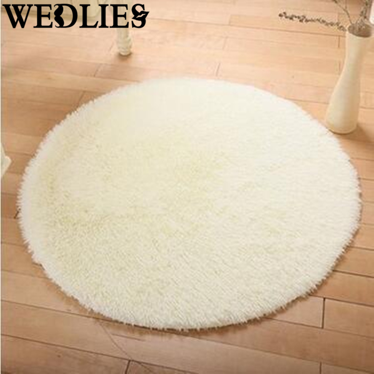 Lovely White Shaggy Rug Round Long Hair Faux Fur Decorative Luxury Shag Non Slip  Shower Bedroom Mat