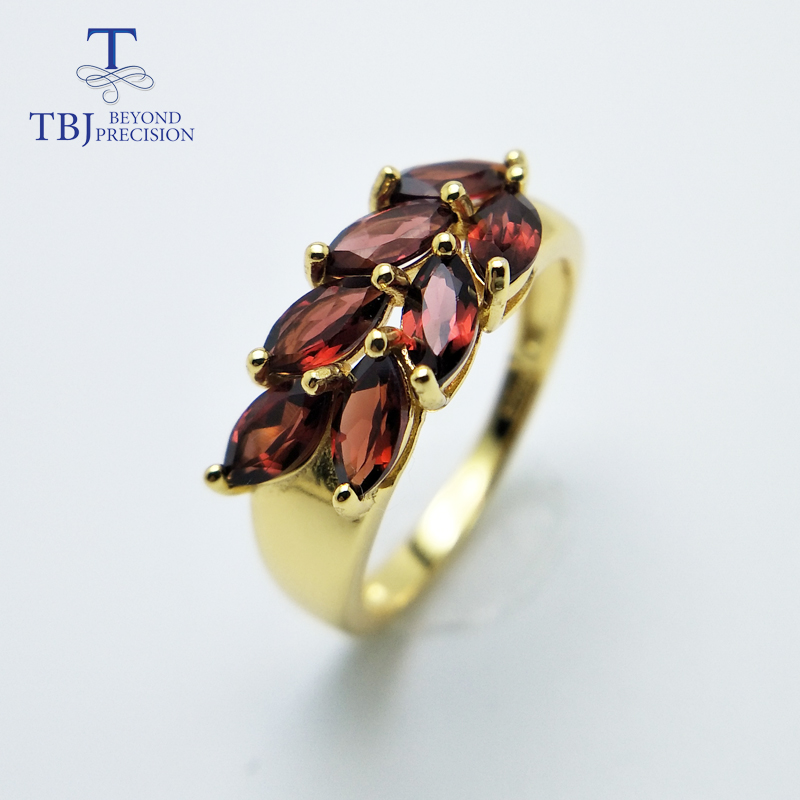 TBJ new style natural gemstone garnet 925 sterling silver rings fashion fine jewelry for girl women