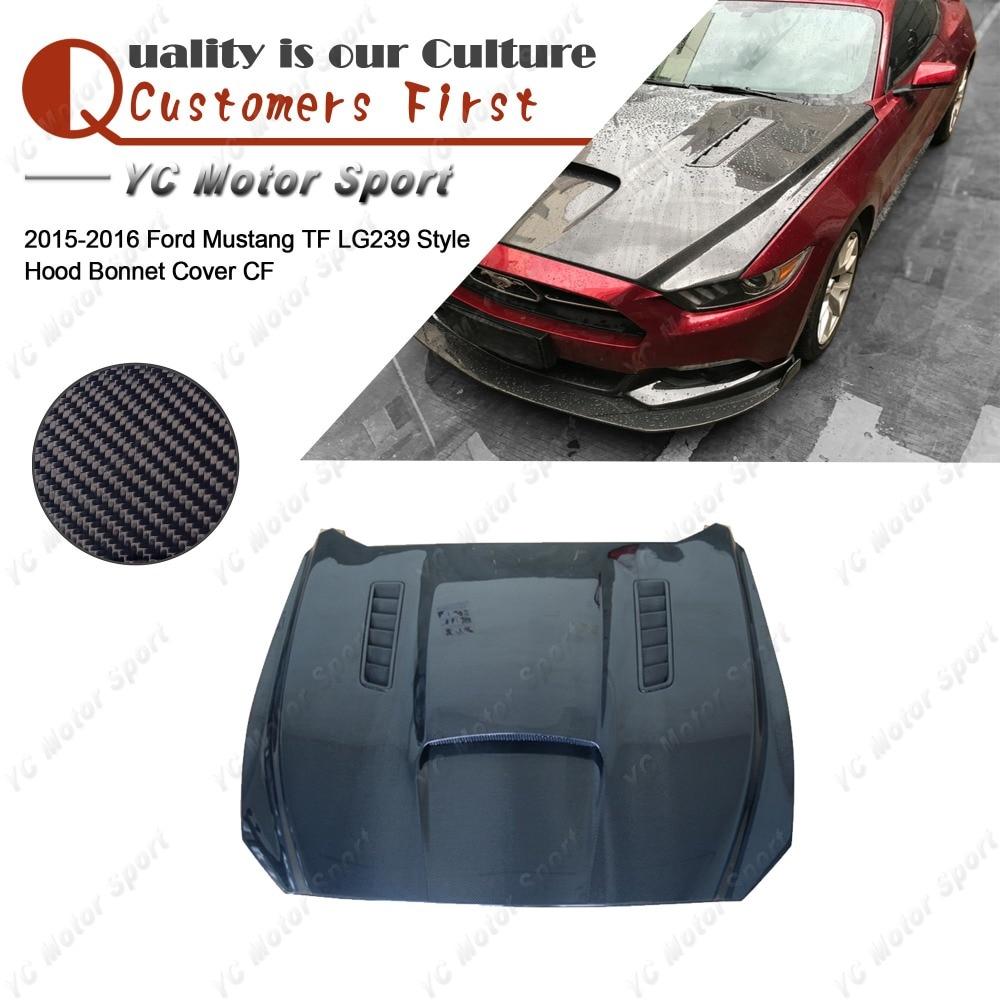 Accessoires de voiture fibre de carbone Trufiber LG239 Style capots couverture pour 2015-2016 Mustang capot avant