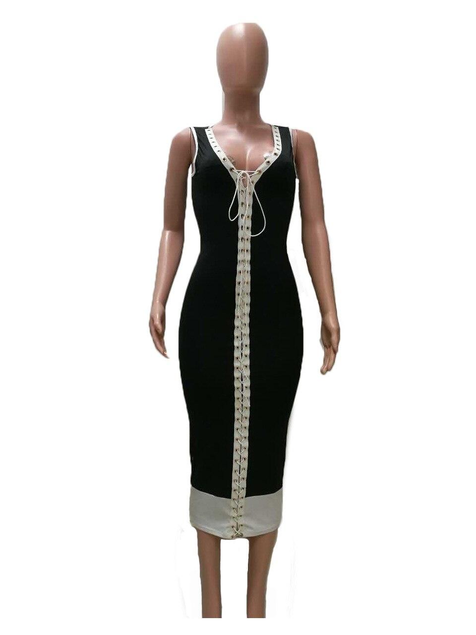 05c2992b33fd 2017 women bodycon Dress robe fourreau women party dress black deep v  hollow out sleeveless rih maxi dress lange feest jurken-in Dresses from  Women s ...