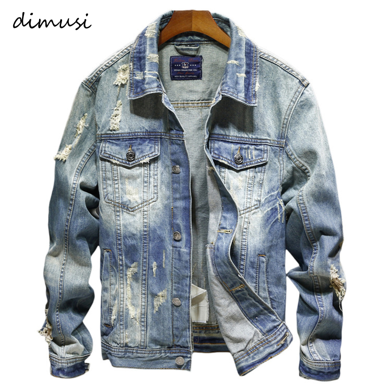 DIMUSI Denim Jackets Men Cowboy Slim Fit Bomber Jacket Men's Ripped Jean Jacket Hip Hop Streetwear Coats Chaqueta Hombre 4XL