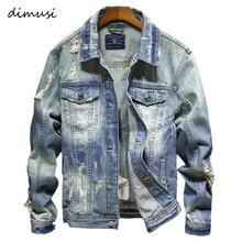 DIMUSI Denim Jackets Men Cowboy Slim Fit Bomber Jacket Men's Ripped Jean Jacket Hip Hop St
