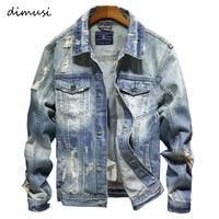 DIMUSI Denim Jackets Men Cowboy Slim Fit Bomber Jacket Men's Ripped Jean Jacket Hip Hop Streetwear Coats Chaqueta Hombre 4XL