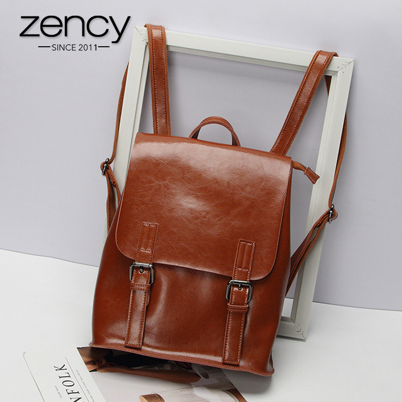 Zency 100 Genuine Leather Women Backpack Fashion Brown Daily Holiday Knapsack Notebook Schoolbag For Girls Travel