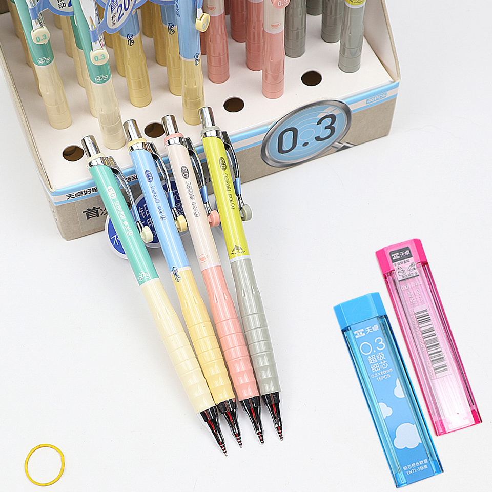 2 Pcs 0.3/0.5/0.7 Mm Mechanical Pencil Send 2 Box Pencil Lead Refills Automatic Pencil For Painting And Writing School Supplies