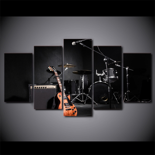 Wall Canvas Print Painting Living Room 5 Panel Musical Instrument Frames In Modular Cuadros Decoration Pictures Poster PENGDA