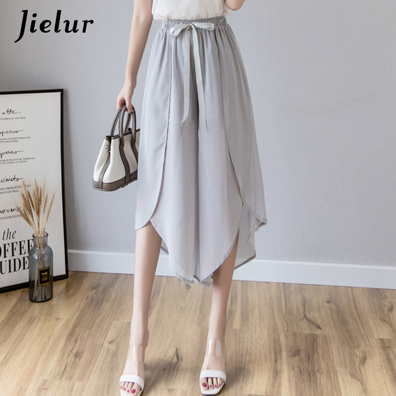 Jielur Solid Color   Wide     Leg     Pants   Women S-XXL Fashion Chiffon Pantalon Femme Irregular Ruffles Bowtie Loose Vintage Summer   Pants