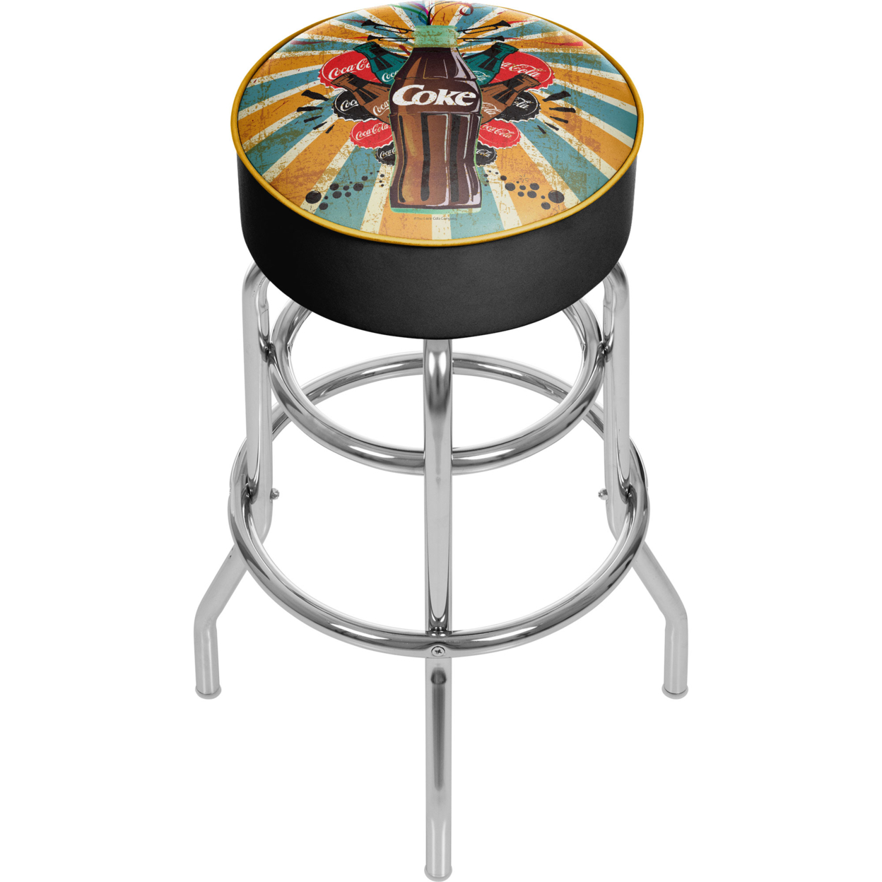 Coca Cola Brazil Color Splash Coke Bottle Padded Swivel Bar Stool 30 Inches High ...