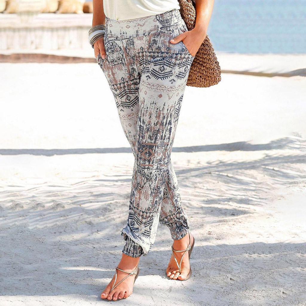 брюки женски штаны женские 2019 Women's Fashion Summer Printing Casual Beach Pants Ladies High Waist Easy Trousers Femme Pants