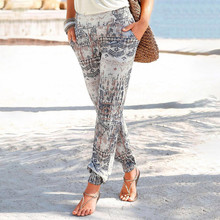 брюки женски штаны женские 2019 Women's Fashion Summer Printing Casual Beach Pants Ladies High Waist Easy Trousers femme Pants труси женски