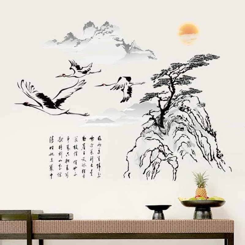 Chinese Style Mountain Tree Wall Sticker Birds Stickers Vintage Retro Posters Living Room Home Decor Wallstickers Wallpaper