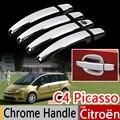 Para citroen c4 picasso 2006-2013 conjunto de 4 pcs chrome handle covers guarnição grand c4 picasso acessórios adesivos de carro estilo do carro