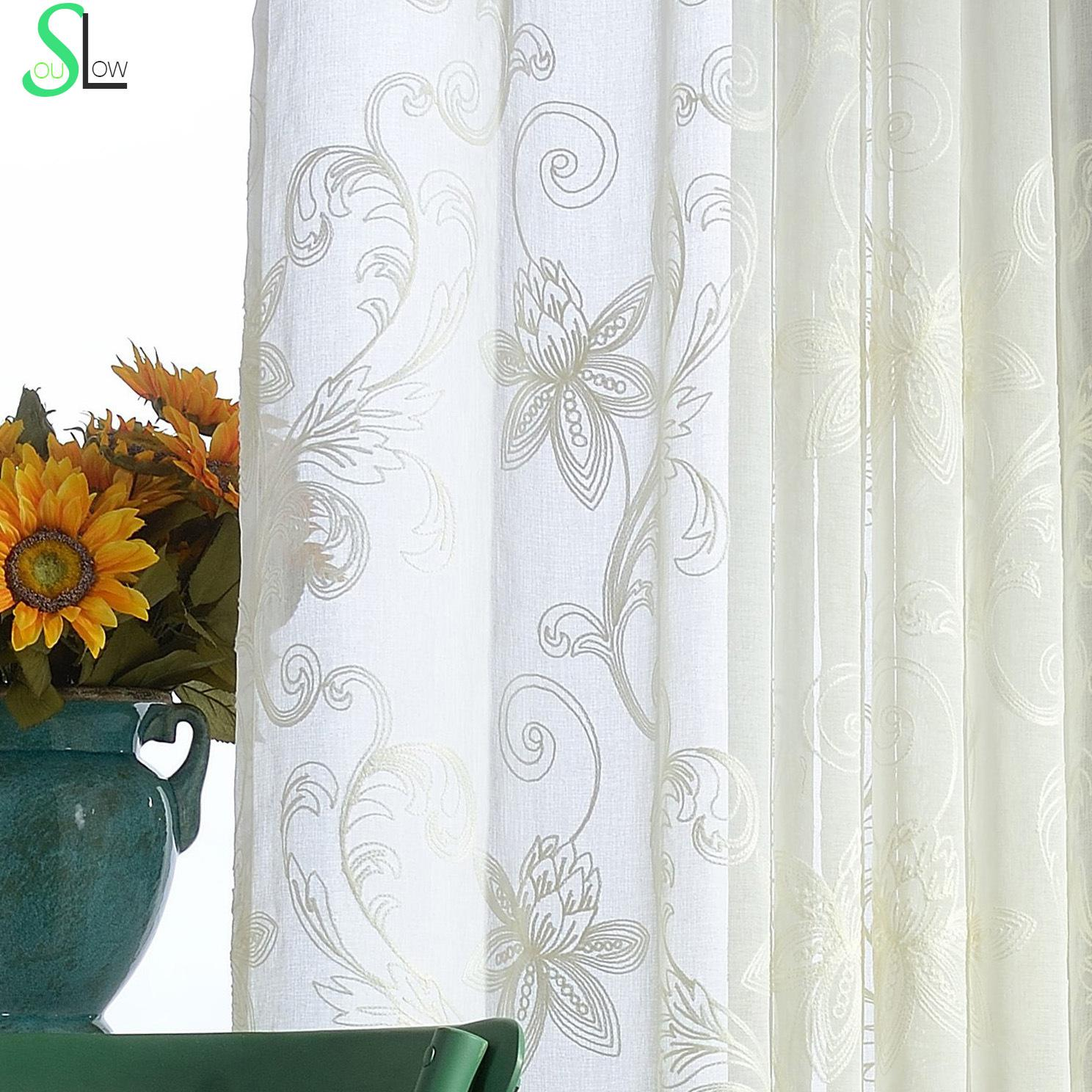 White 3d Curtains Embroidered Sheer Curtains Flowers Screen Tulle Curtains Rideau Voilage