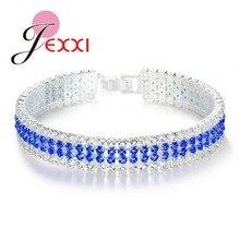 JEXXI Luxury Stackable Cubic Zirconia Charm Bracelet 925 Sterling Silver Wide Jewelry for Women Wedding & Engagement