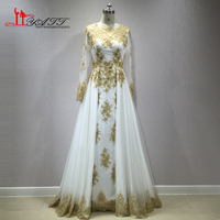 2017 New Gold Lace Appliques Long Sleeve Muslim Evening Dress Long Floor Length Saudi Arabia Formal