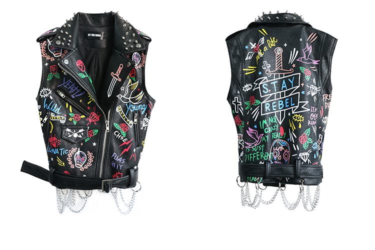 النساء الشرير تصميم الكرتون إلكتروني مطبوعة أكمام معطف عالية الشارع برشام قصيرة الخصر معطف الهيب هوب بو الجلود قمم-في السترات الأساسية من ملابس نسائية على  مجموعة 2