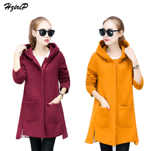 Фотография Plus Size 4 Color New Arrival Spring Winter Thick Hoody Long Sleeve Zipper Pockets Woolen Coat Warm Vintage Warm abrigos mujer