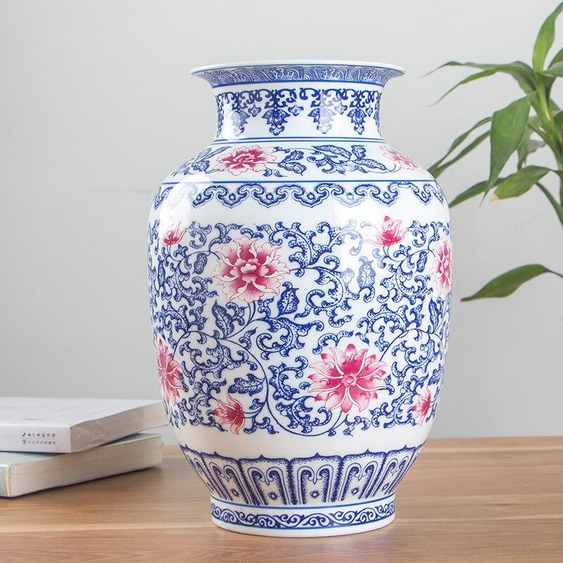 Chinese Style Jingdezhen Ceramic Vase underglaze blue & red Decoration Porcelain Flower Vase Tabletop VaseChinese Style Jingdezhen Ceramic Vase underglaze blue & red Decoration Porcelain Flower Vase Tabletop Vase