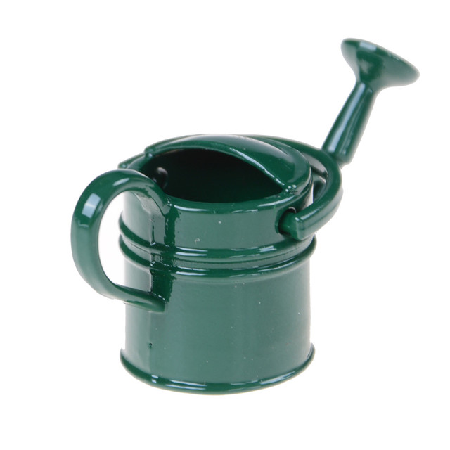 Dollhouse Metal Black Watering Can Garden Decoration Clic Toys For Children Kids Dolls Accessory Miniature Furniture