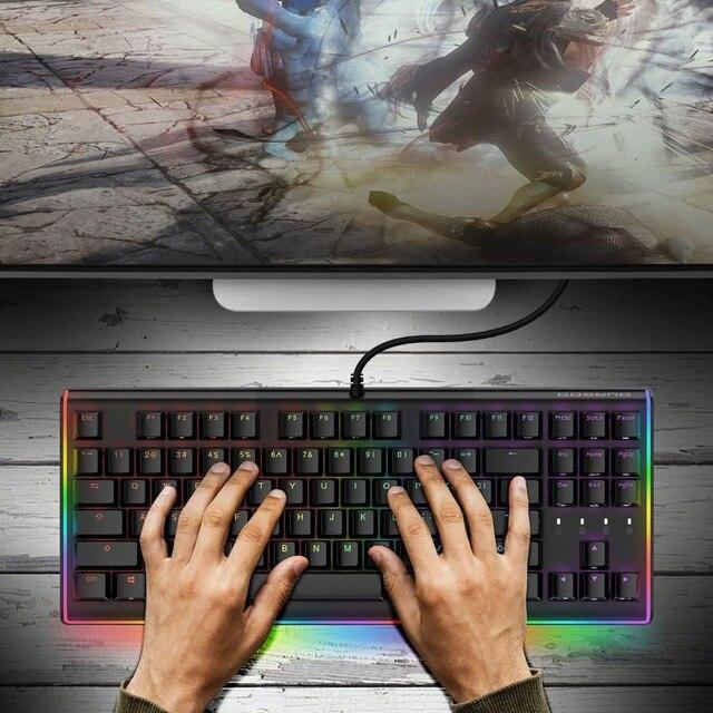 d0d4a17556f DURGOD Gaming Mechanical Keyboard 87 Keys RGB LED Illuminated Backlit  Flowing Light Edge Gamer Keyboard Cherry