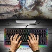 Gaming Mechanical Keyboard 87 Key RGB LED Illuminated Backlit Flowing Light Edge Gamer Keyboard Cherry MX Switch QWERTY Layout