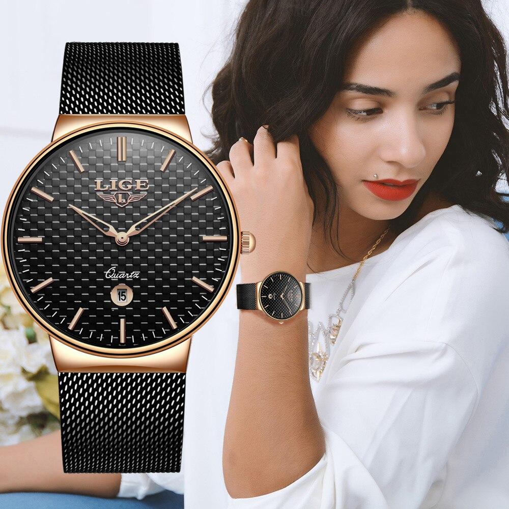 Reloj Mujer LIGE модные Элитный бренд для женщин кварцевые часы для Montre Femme 2019 женский Relogio Feminino женские золотые часы