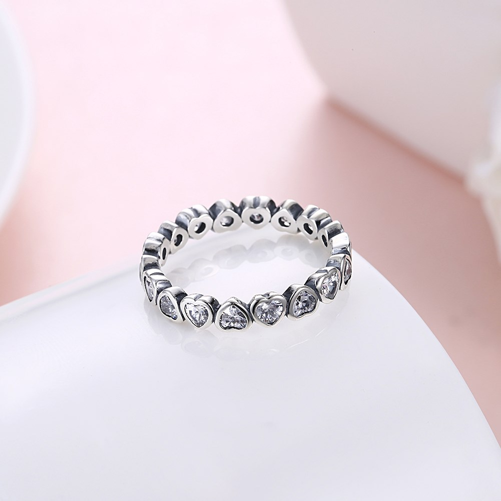 86c3e6807 Authentic 925 Sterling Silver Pan Ring Forever More Love Heart With Crystal  Rings For Women Wedding Gift Fine Jewelry-in Wedding Bands from Jewelry ...
