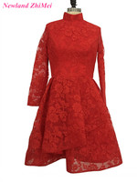 Red High Neck Cocktail Dress Sexy Long Sleeves Lace Party Dresses vestido de festa curto