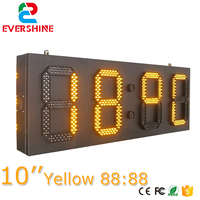 10 inch 88:88 Amber led time temperature sign outdoor temperature display 4 digitals yellow display board